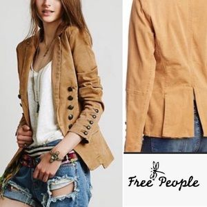 FREE PEOPLE Camel Structured Washed Blazer